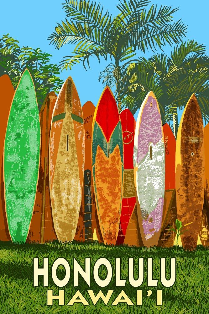Honolulu, Hawaii - Surfboard Fence (16x24 Giclee Gallery Print, Wall Decor Travel Poster)