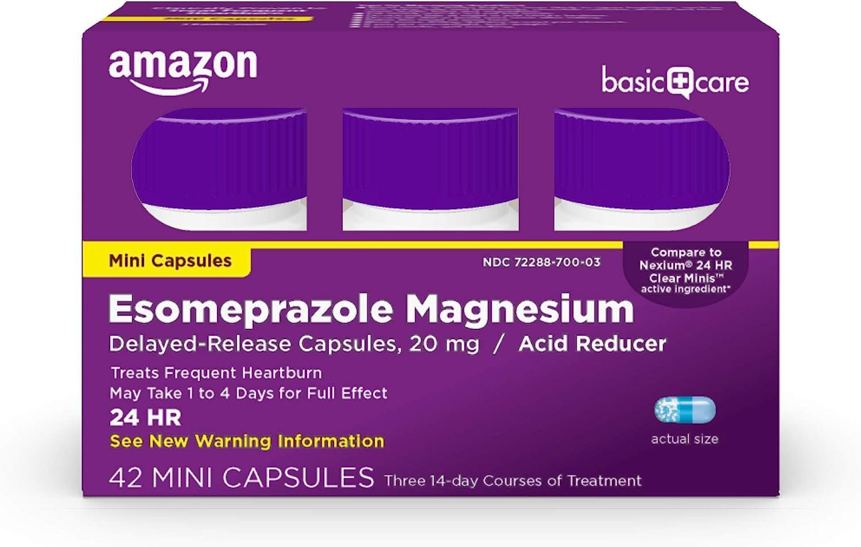 Amazon Basic Care Esomeprazole Magnesium Delayed-Release Mini Capsules, 20 mg, Acid Reducer, 42 Count