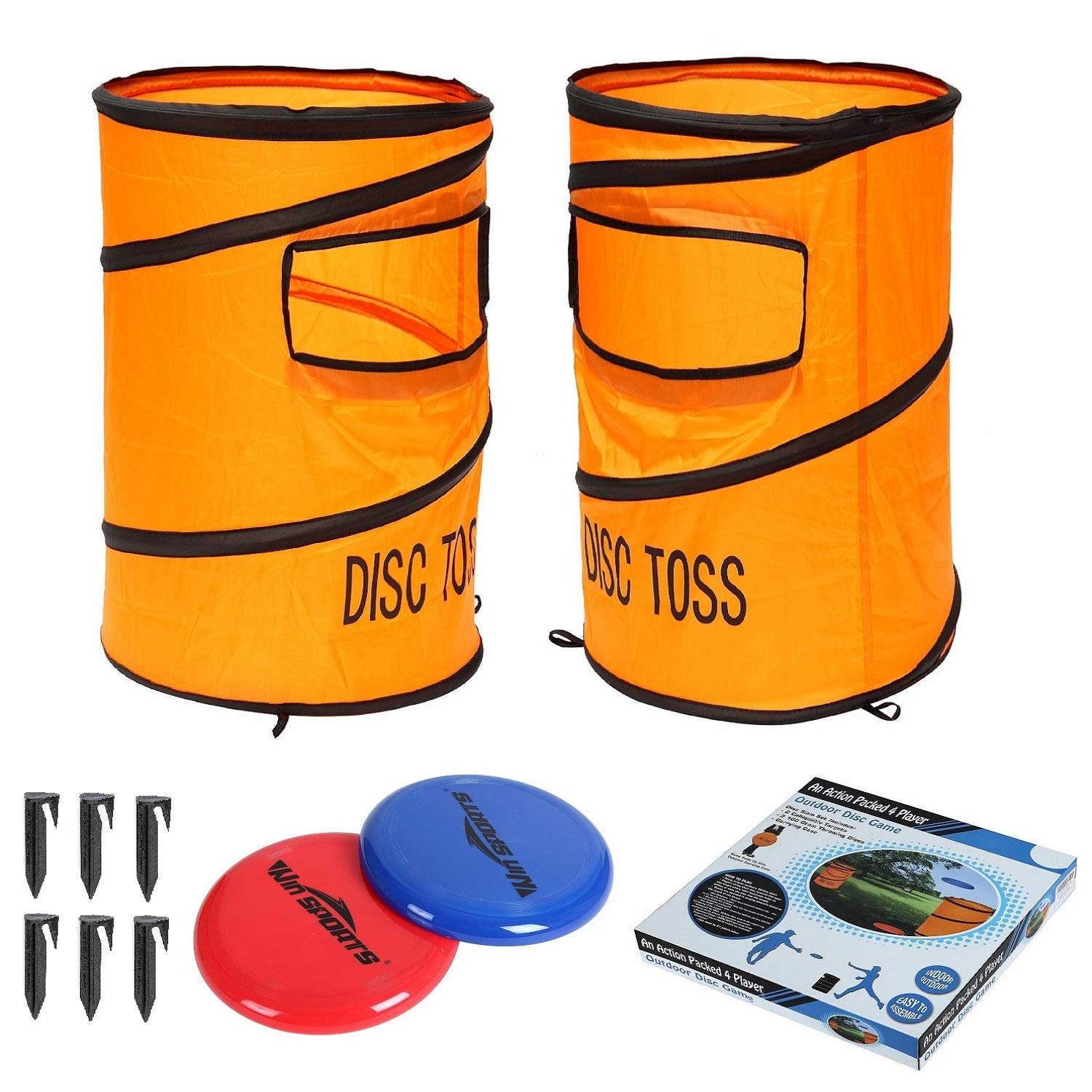 Win SPORTS Folding Disc Slam Game Set丨Flying Disc Toss Dunk Game Set丨Includes 2 Disc Targets with Bean Bag & 2 Flying Discs & Carrying Case丨Great for Backyard,BBQs,Tailgating by Win SPORTS