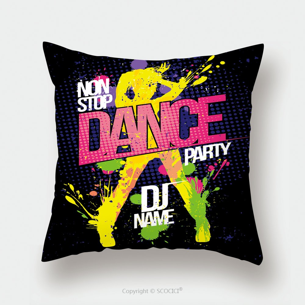 Custom Satin Pillowcase Protector Non Stop Dance Party Poster With Dancing Woman Silhouette Made From Blots Pop Art Style 376603345 Pillow Case Covers Decorative by chaoran (Image #1)