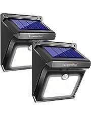 Lámpara Solar Exterior,Luposwiten Lámparas Solares 400 Lumen, 28LED Luz Solares de Pared con Sensor Movimiento Exterior, Foco Solar para Jardín,Balcón, Garaje,Terraza,Caminos,Acera[2 Piezas]