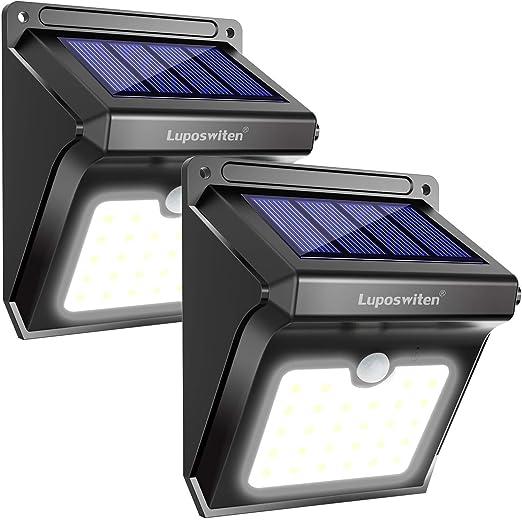 Lámpara Solar Exterior,Luposwiten Lámparas Solares 400 Lumen, 28LED Luz Solares de Pared con Sensor Movimiento Exterior, Foco Solar para Jardín,Balcón, Garaje,Terraza,Caminos,Acera[2 Piezas]: Amazon.es: Iluminación