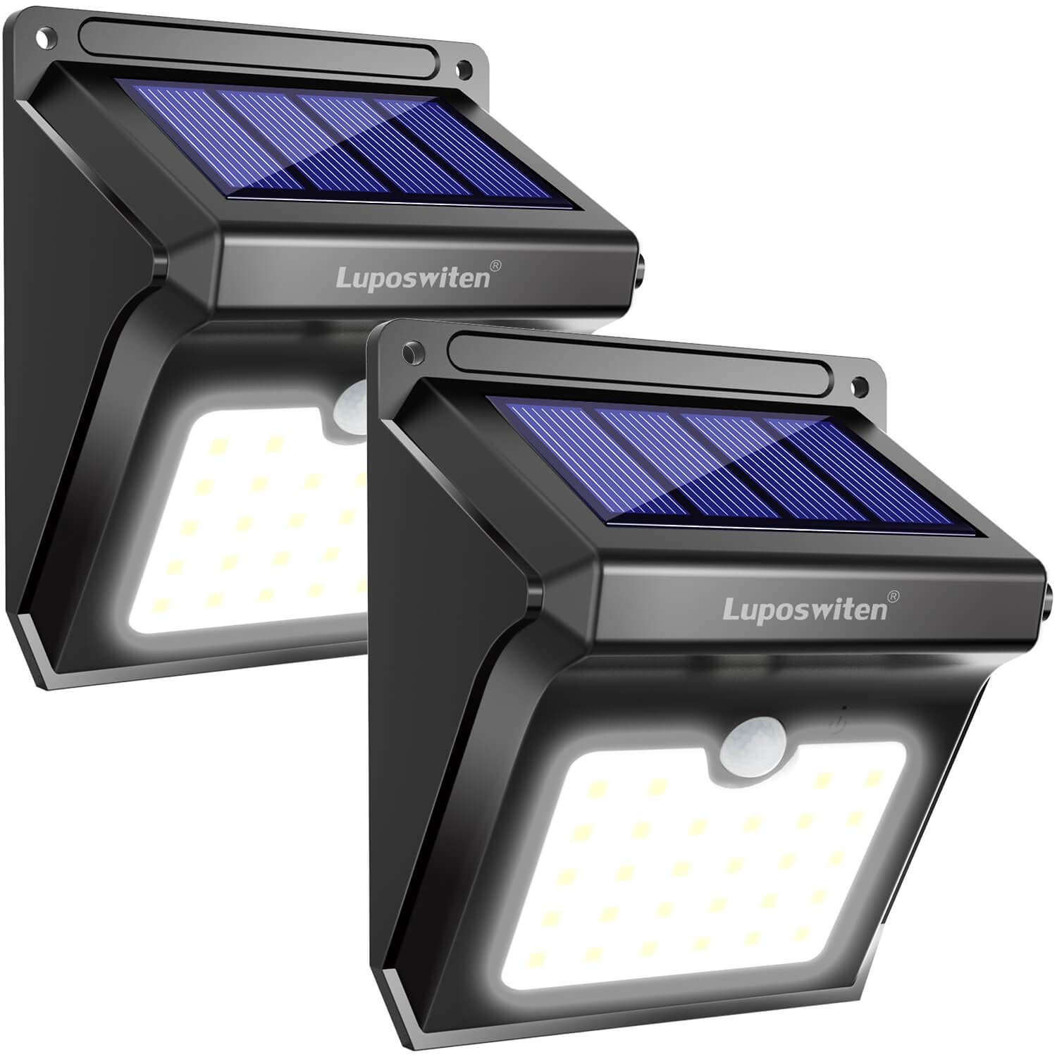 Solar Lights Outdoor 2Pieces Solar Waterproof Wall Light for Outside Garden Pathway Walkway Fence Patio,Yard Luposwiten 28 LED Solar Security Lights with Motion Sensor
