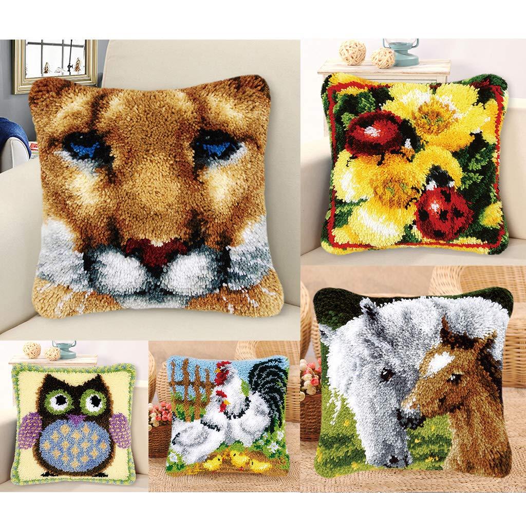DIY Home Ornaments Pillows Case Making Kit Horse Baosity Latch Hook Kit