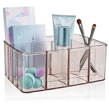 STORi Plastic Vanity Organizer | 5-Compartments | Auburn Mist