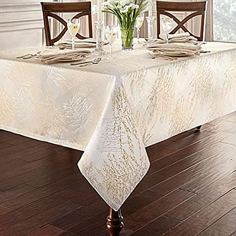 Linens Timber 70 Inch X 104 Inch Oblong Tablecloth In Gold/Silver,