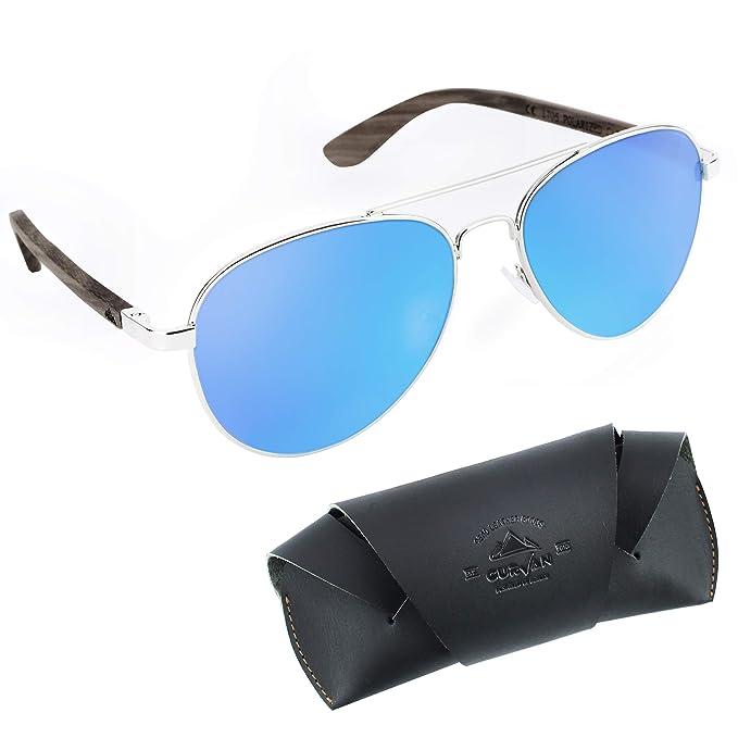 CURVAN - Gafas de Sol Polarizadas Hombre Mujer Unisex | Estilo Aviador | 100% Protección UV400 | Patillas Madera Natural Ecológica | Lente ...