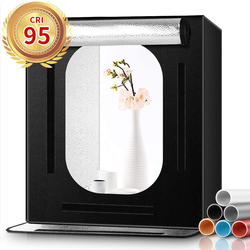 Photo Light Box, FOSITAN 16x16x16 Portable Photo Studio Photography Studio Box with 6 Backdrops Brightness Dimmable Shooting Tent for Product Advertising Like Jewellery, Food, Bags, Shoes etc. by FOSITAN
