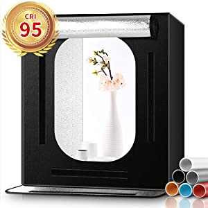 FOSITAN Photo Light Box, 16x16x16 Portable Photo Studio Photography Studio Box with 6 Backdrops Brightness Dimmable Shooting Tent for Product Advertising Like Jewellery, Food, Bags, Shoes etc.
