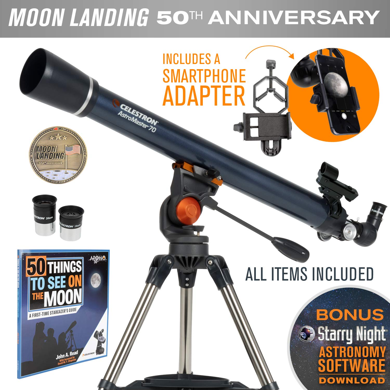 Celestron AstroMaster 70AZ Refractor Telescope with Smartphone Adapter - Limited Edition Apollo 11 50th Anniversary Bundle with Commemorative Coin and Book by Celestron