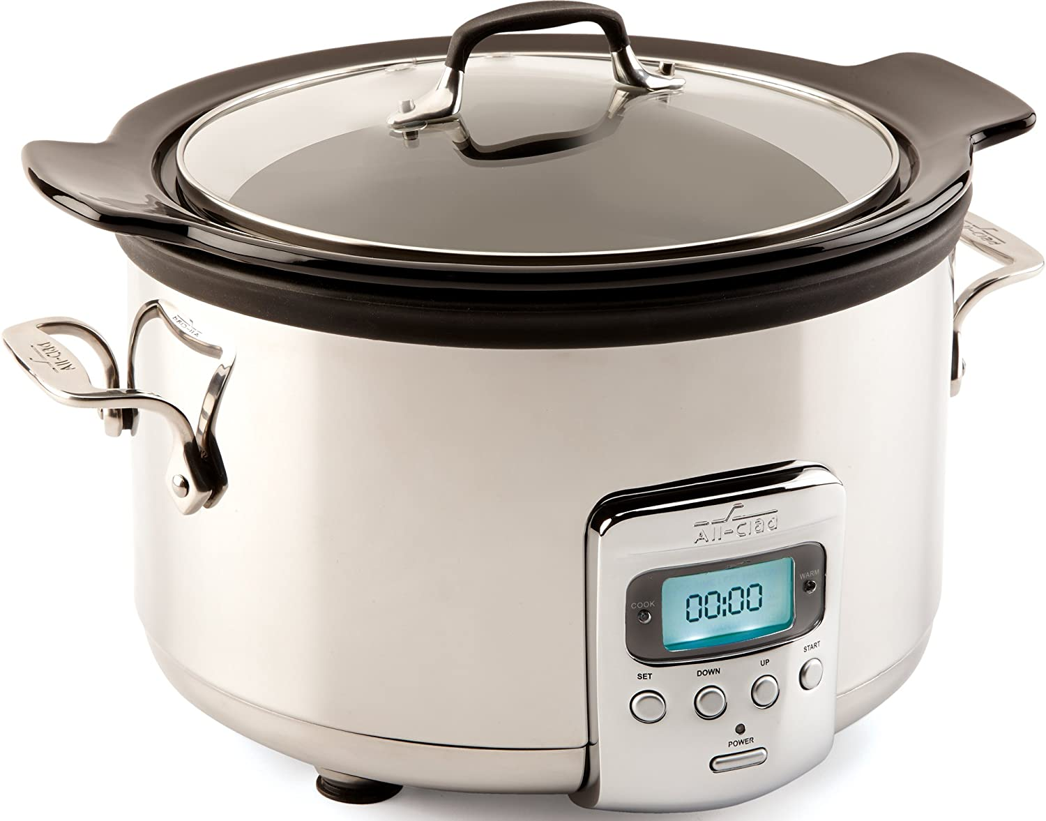 All-Clad SD710851 Slow Cooker with Black Ceramic Insert and Glass Lid, 4-Quart, Silver