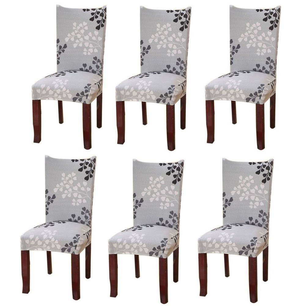 Fuloon Super Fit Stretch Removable Washable Short Dining Chair Protector Cover Seat Slipcover Hotel,Dining Room,Ceremony,Banquet Wedding Party (4 Per Set, A)