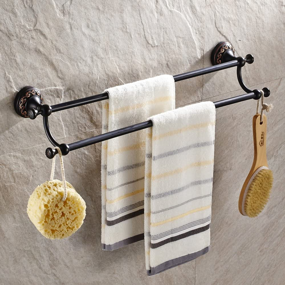 Leyden Black Brass Antique Bathroom Accessories Double Bar Towel Bar Towel Holder Towel Hanger Towel Stand, Oil Rubbed Bronze