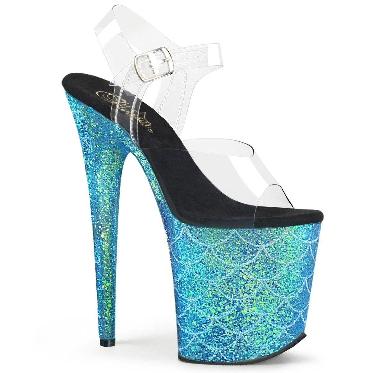 Women's Aqua Flamingo Glitter Fish Scale Design Ankle-Strap Platform Sandals - DeluxeAdultCostumes.com
