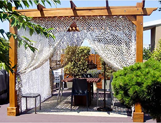LIN-Reliable Camuflaje Nets Negro Blanco Azul Arena Reforzado Ocultar Malla Pergola Jardín Sombreado Exterior Toldo Gazebo White-3m*3m: Amazon.es: Hogar