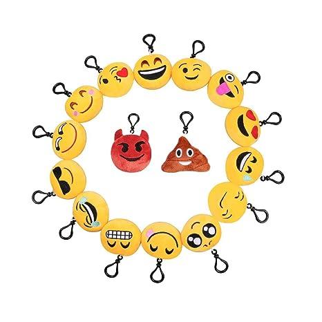 D&&R Llavero Emoji, Relleno Emoji Plush Toy Pillows Mini Emoticon Llavero Decoraciones Soft Party Rellenos