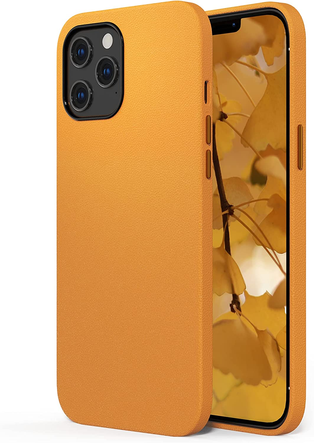 SURPHY Faux Leather Case Compatible with iPhone 12 Pro Max Case 6.7 inches, Premium Faux Leather Case Cover (with Metallic Buttons & Microfiber Lining) for iPhone 12 Pro Max (California Poppy)