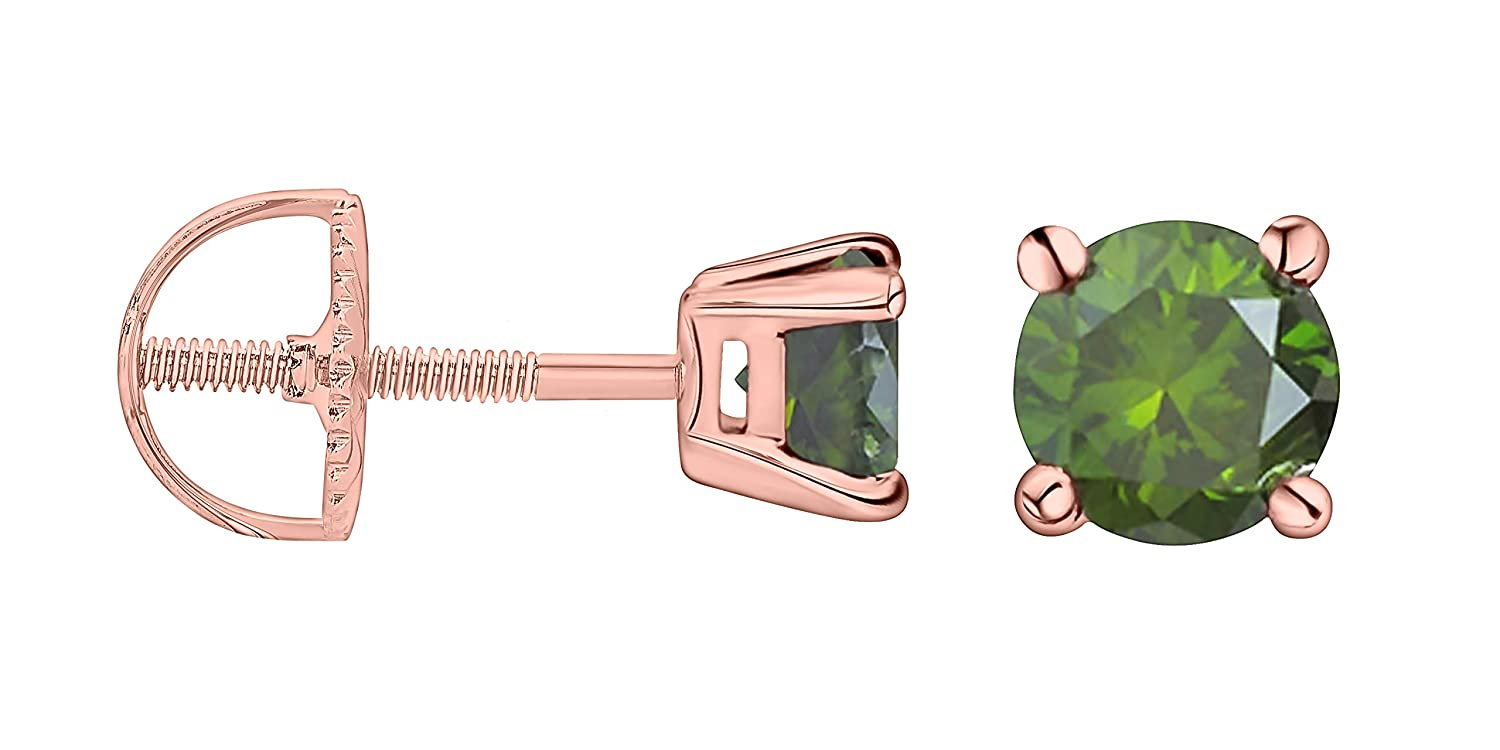 Prism Jewel 0.33 Carat Round Green Diamond Screw Back Prong Set Stud Earrings 14k Yellow Gold