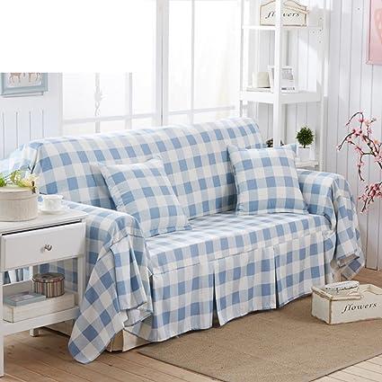 Sofa Cover Blue Plaid Sofa Towel Full Cover Sofa Cover Sofa Cushion Garden  Sofa Cover