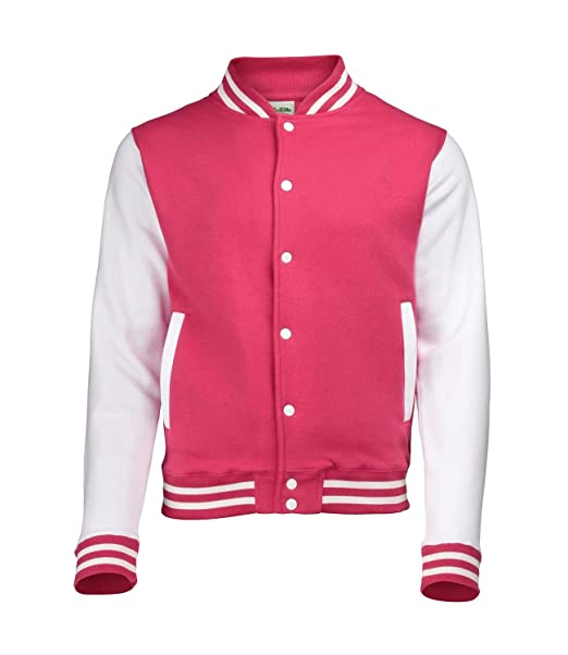 Just Hoods by awdis – Chaqueta deportiva tipo instituto americano para hombre Rosa - Hot Pink / White XX-Large : Amazon.es: Ropa y accesorios