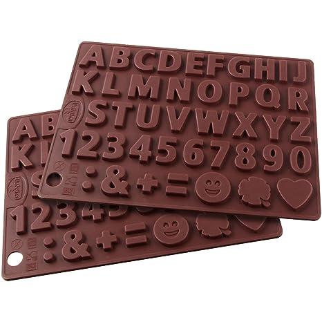 """Dr. Oetker """"para postres Letras y números Chocolate Molde, Silicona, marrón"""