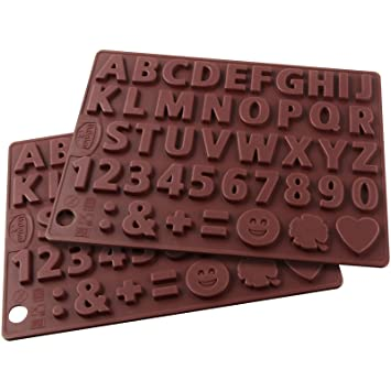 Dr. Oetker Silicone-Chocolate Forms 2PCs Set Letter and Number Template, 43 Motive