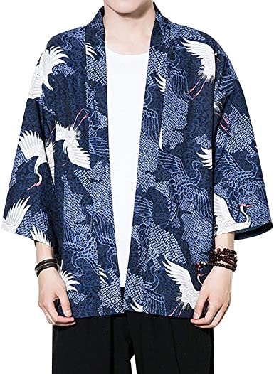 Moda para Hombre Chaqueta De Kimono De Verano Casual 3/4 Manga De Impresión Suelta Chaqueta Haori Ocasional Outwear Cardigan Capa Delantera Abierta Juventud: Amazon.es: Ropa y accesorios