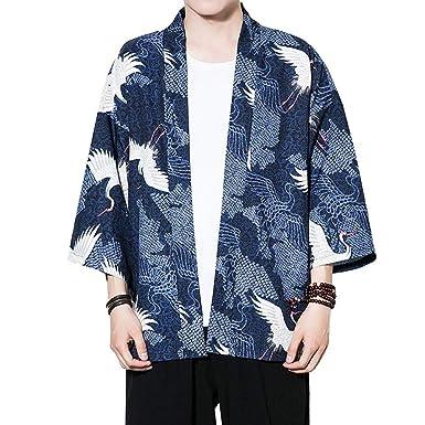 Moda para Hombre Chaqueta De Kimono De Verano Casual 3/4 ...