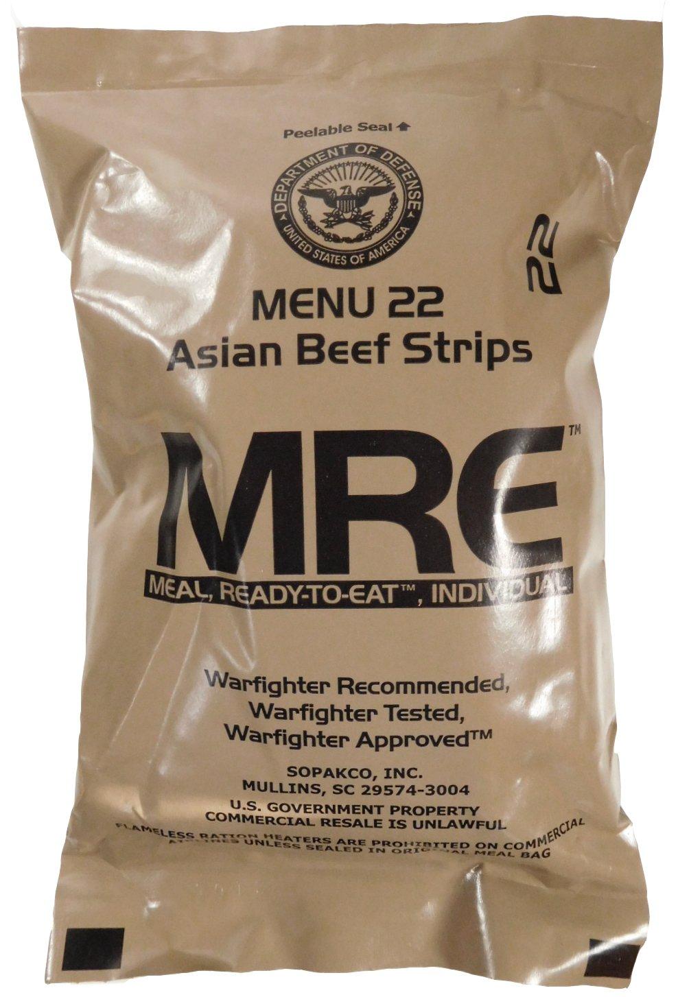 MRE (Meals Ready-to-Eat) – Racionamiento original de los combatientes de guerra de EE. UU.1 paquete de provisiones para militares de diferentes sabores de MRE.