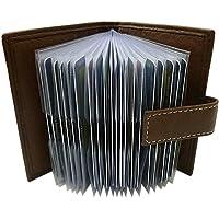 XXL Cuero de búfalo Caja de la Tarjeta para un Total de 24 Tarjetas de credito MJ-Design-Germany (Marrón)
