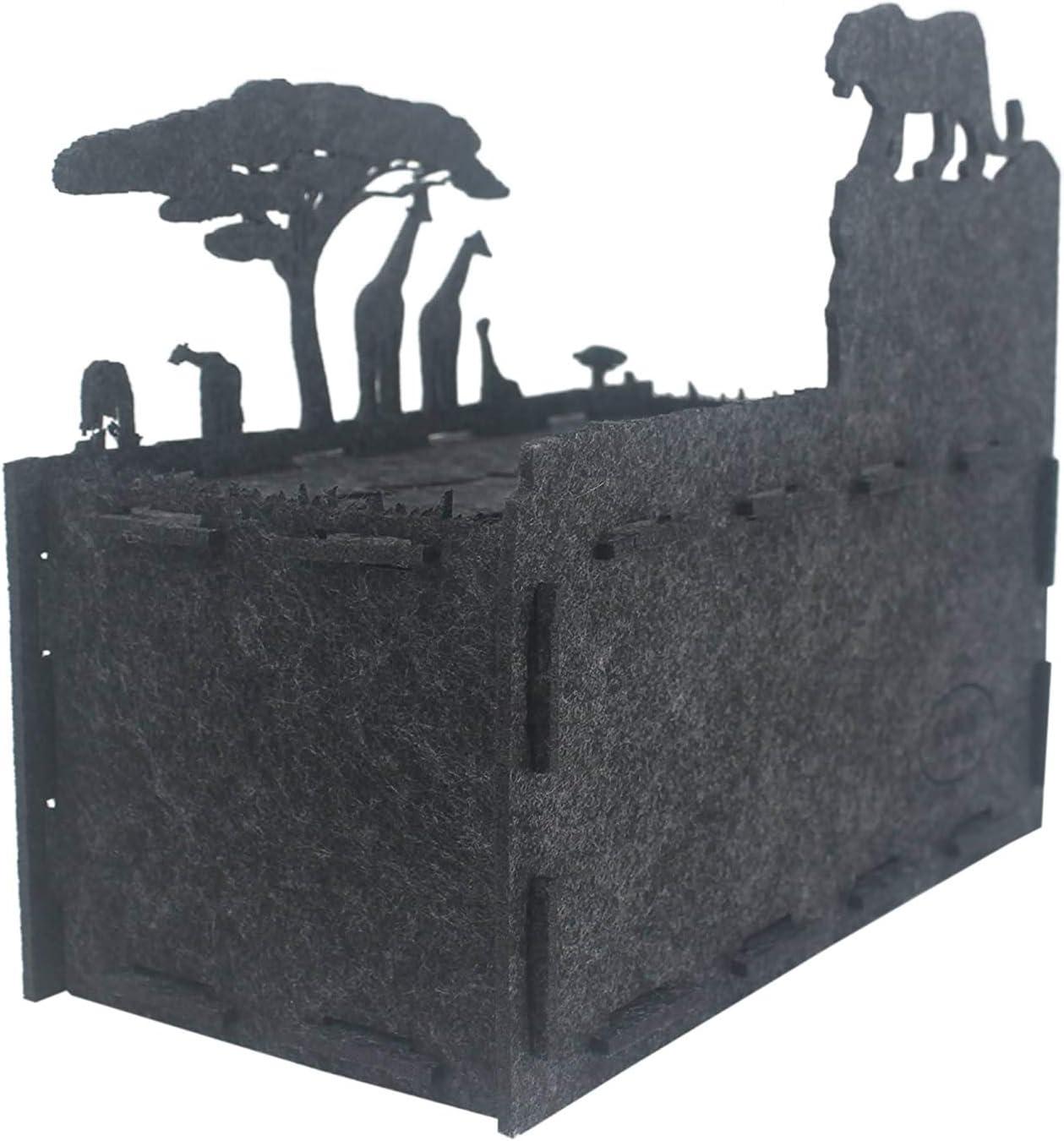 Afrika//AnthrazitMelange RAIKOU Taschent/ücher-Box aus Filz robuster Taschentuch-Spender in interessanten Formen dekorative Kosmetikt/ücher Box