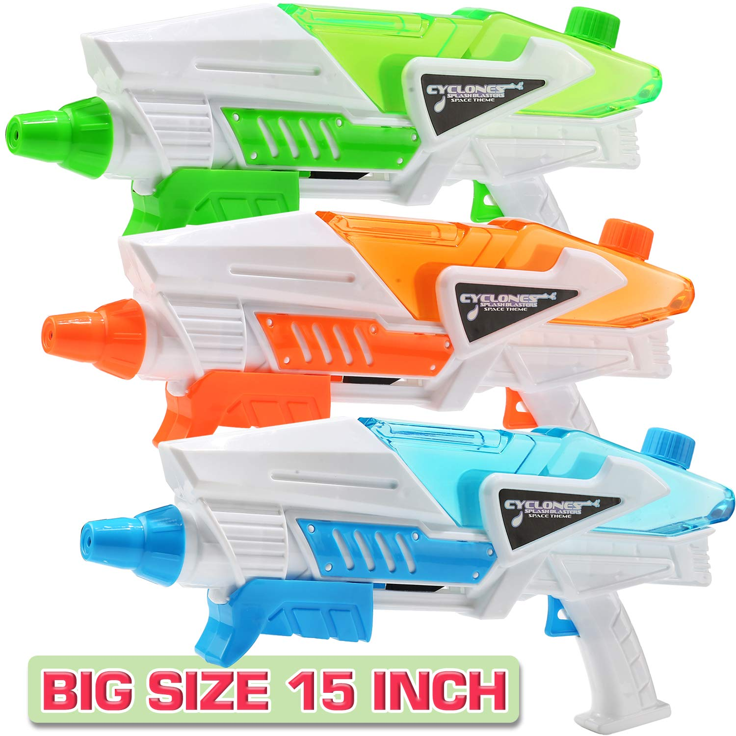 3 Pack Super Water Shooter Gun, High Capacity Water Soaker Blaster Squirt Toy for Swimming Pool Party Sand Beach Game, Outdoor Summer Water Fighting Toy for Adult Child Boy and Girl by Punertoy