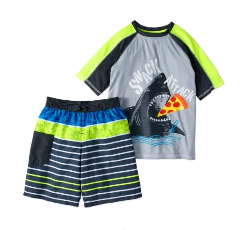 Boy's 2 Piece Rashguard Swim Set (Small 6/7, Silver Shark)
