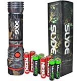 Nebo Slyde (CAMO) 250 Lumen LED flashlight/Worklight 6383 with 4 X EdisonBright AAA alkaline batteries. Dual light sources. Magnetic Base