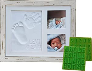 """Distressed Baby Handprint & Footprint Picture Frame Kit - Rustic 9"""" x 11"""" Wood Photo Frame & Clay Keepsake for Newborns. Bonus Stencil Included for a Personalized Registry, New Mom or Shower Gift."""