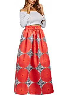 fb2ac274394 Uideazone Women African Floral Maxi Skirts High Waist A Line Long Skirts  With Pockets