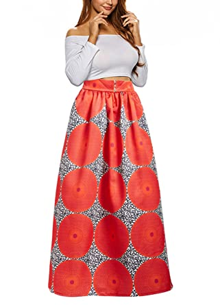 16f91098cd793 Uideazone Women Fashion Printed Floral Full Skirts Cocktail A Line Maxi  Skirt