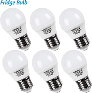 TORCHSTAR LED Refrigerator Light Bulb, A15 Fridge Bulb, 5W (40W Eqv.), UL-Listed, Wide Beam Angle for Freezer, Ceiling Fan, Desk Lamp, E26/E27 Base, 3000K Warm White, Pack of 6