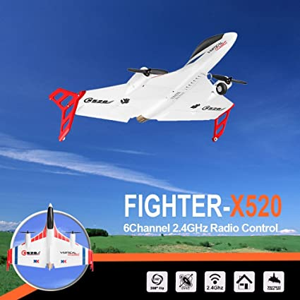 RC Airplane, Fineser XK X520 2 4G 6CH RC Airplane Glider Remote Control  Plane Outdoor Aircraft