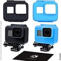 CamKix etuis en silicone compatible avec le cadre de votre Gopro Hero 7 / 6 / 5 Black - 2 étuis de protection - Noir / Bleu - Protection contre la poussière, les rayures et les chocs légers