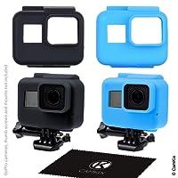 Etuis en Silicone pour le cadre de votre Gopro Hero 7 / 6 / 5 Black - 2 étuis de protection - Noir / Bleu - Protection de votre appareil GoPro Hero5 à l'interieur du cadre - Contre la poussière, les rayures et les chocs légers