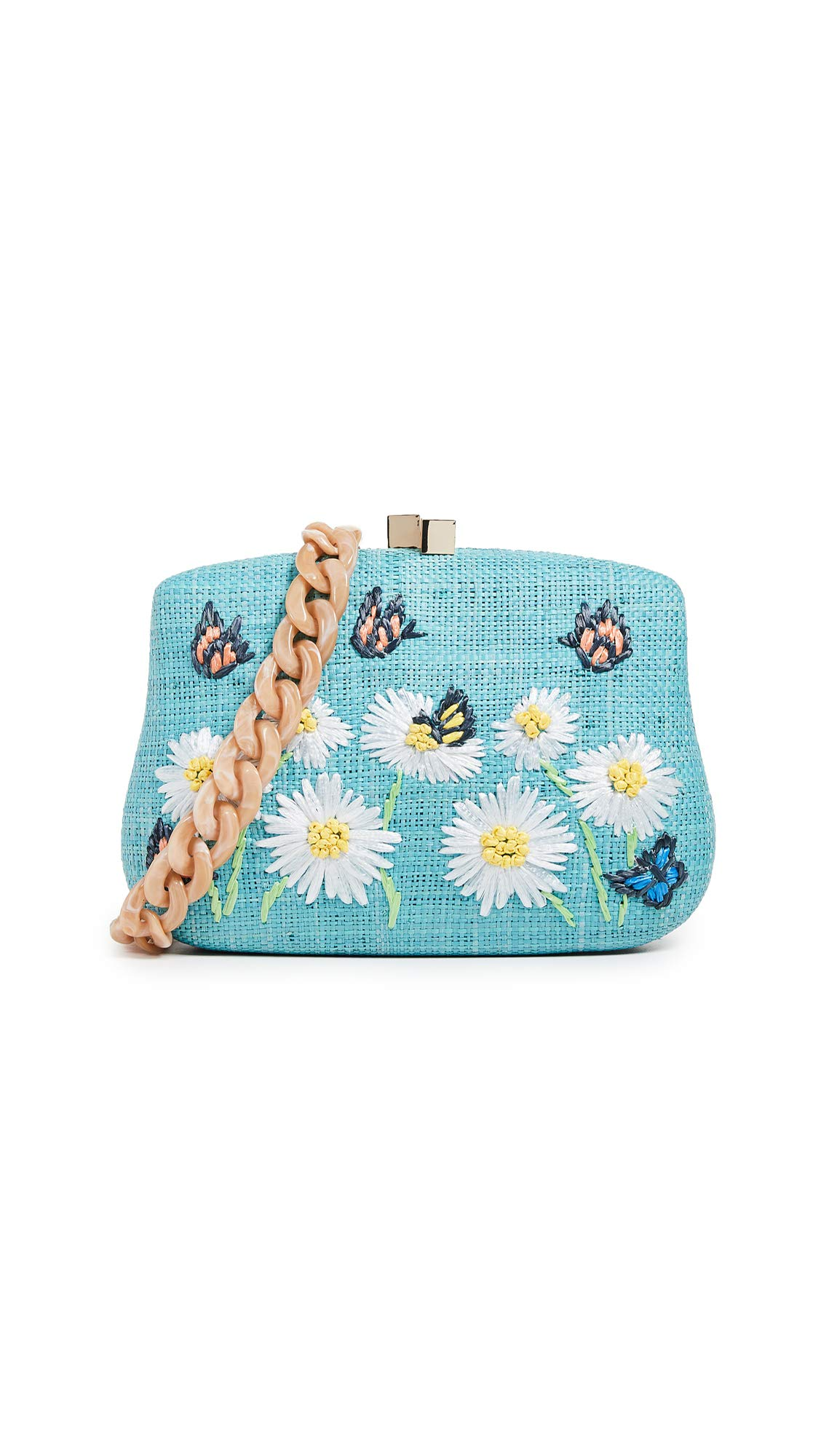 Serpui Marie Women's Blair Daisy Embroidered Minaudiere, Turquoise, Blue, Graphic, One Size