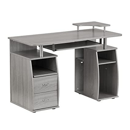 Phenomenal Techni Mobili Complete Computer Workstation Desk Grey Grey Rectangle Interior Design Ideas Clesiryabchikinfo