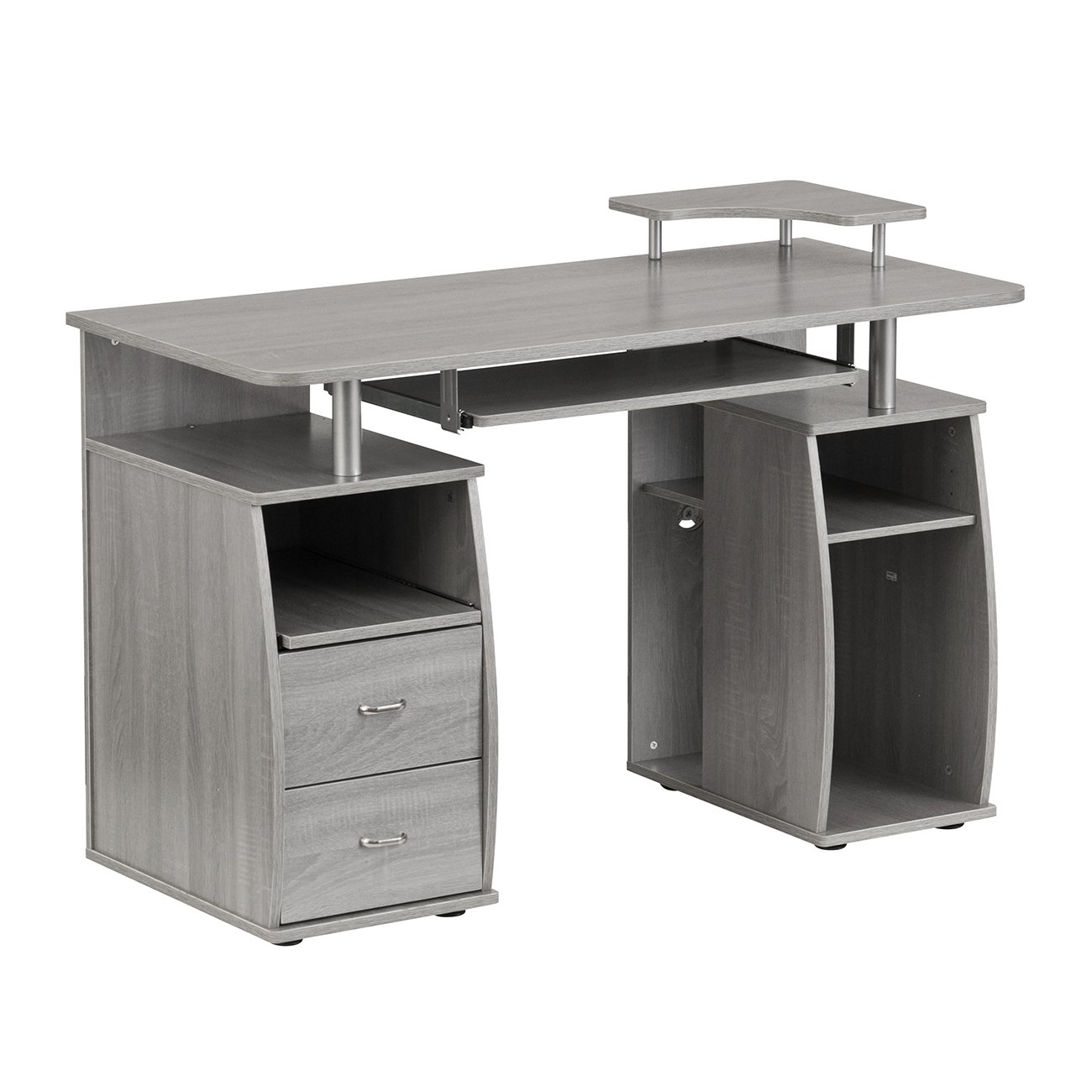 Techni Mobili Complete Computer Workstation Desk Grey/Grey/Rectangle