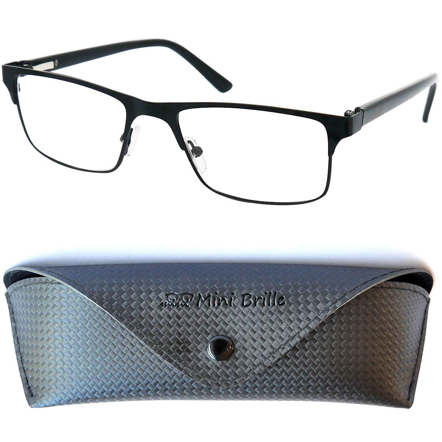 f6206372fe Gafas de Lectura con Cristales Rectangulares | Montura de Acero Inoxidable  (Negra) | Funda