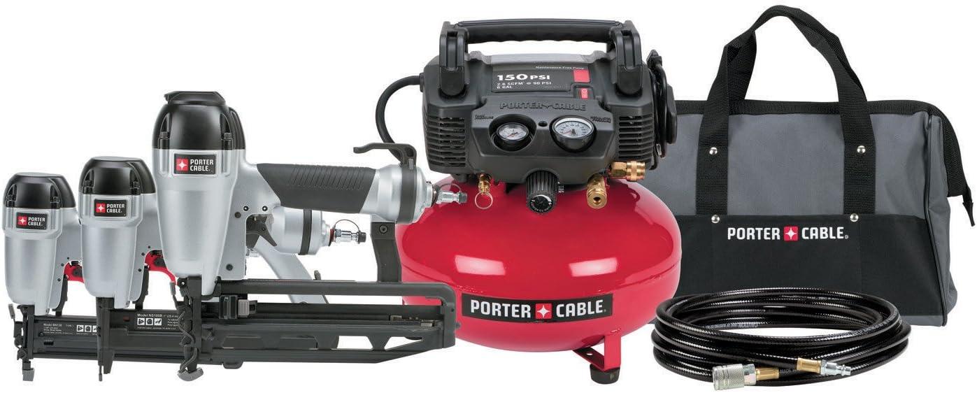 Porter-Cable PCFP12656 6 Gallon 150 Psi Compressor Nailer and Brad Combo Kit