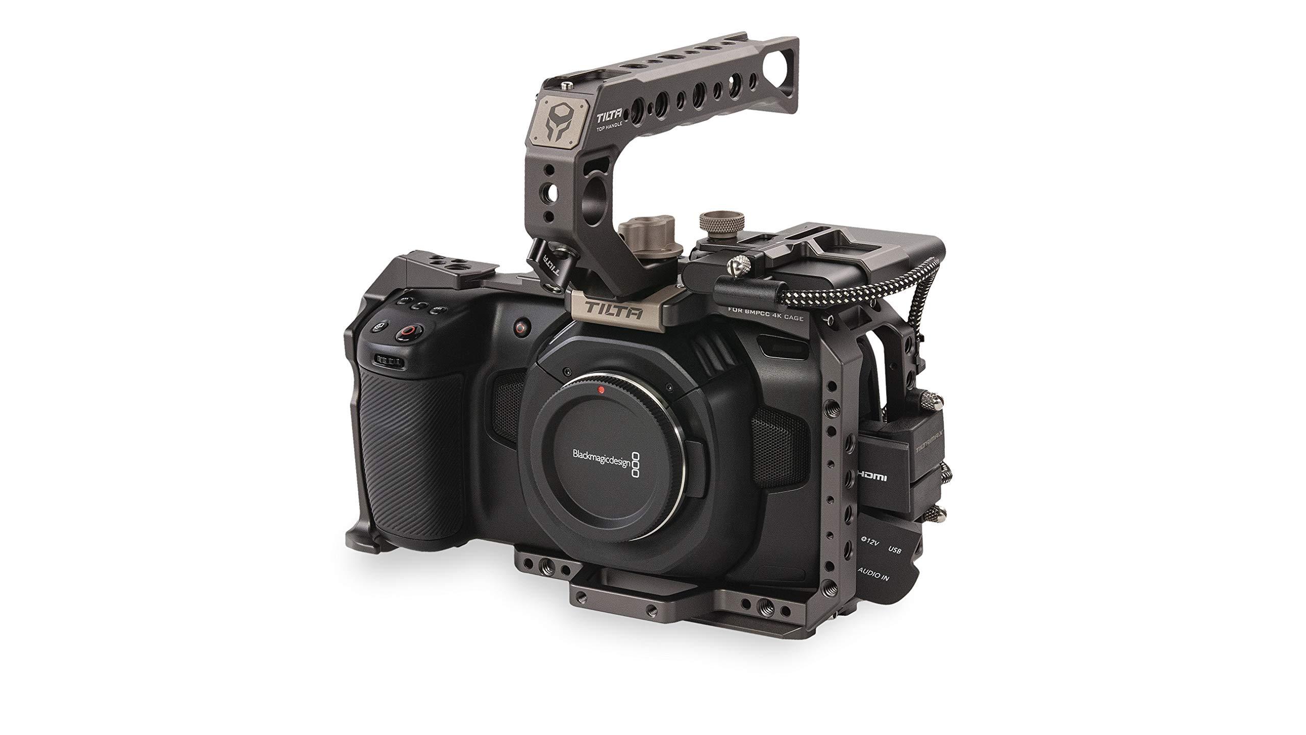 Tilta Camera Cage for BMPCC 4K - Basic Kit SSD Drive Holder Top Handle for BMPCC 4K Camera (Tilta Gray) by Tilta