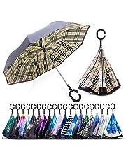 ZOMAKE Parapluie Inversé,Parapluie Canne,Double Couche Coupe-Vent, Mains Libres poignée en Forme C, Idéal pour Voiture et Voyage