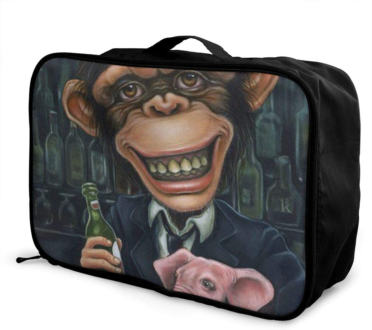 Drunk Mr.Monkey And Pet Elephant Travel Carry-on Luggage Weekender Bag Overnight Tote Flight Duffel In Trolley Handle