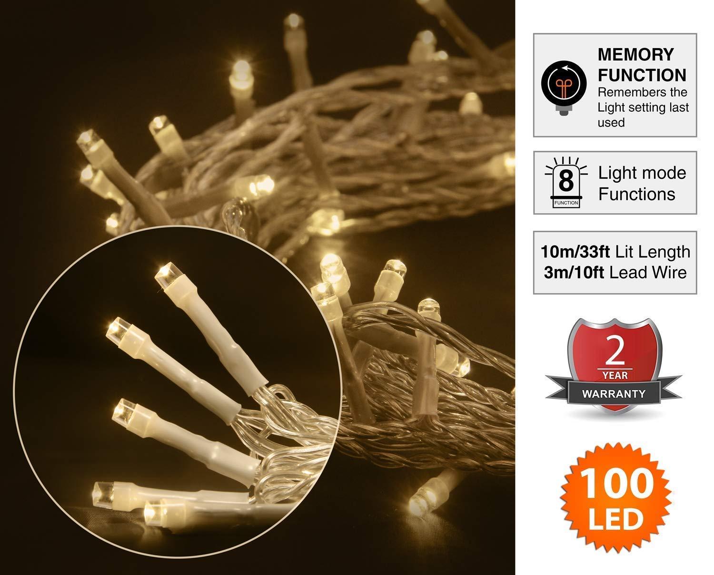 Nasharia 12M 120 LED USB Lichterkette mit Fernbedienung und Timer 8 Modi Dimmbar Batterie betrieben Lichterkette Au/ßen Innen f/ür Zimmer Weihnachten Weihnachtsbaum Warmwei/ß Lichterkette Batterie
